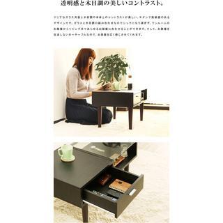 送料無料 ドロワーテーブル 80cm 強化ガラス  テーブル8(その他)