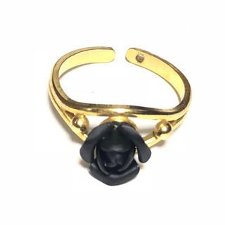 リング アクセサリー 黒薔薇 バラ 180(リング(指輪))