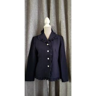 タケオニシダ(TAKEO NISHIDA)の大変美品 TAKEO NISHIDA  上品で上質なウールジャケット 紺 フリル(テーラードジャケット)