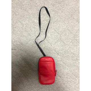 ザラ(ZARA)の新品 ZARA スマホケース スマホポーチ ネックストラップ 赤 フェイクレザー(iPhoneケース)