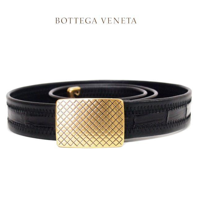 Bottega Veneta(ボッテガヴェネタ)の4 BOTTEGA VENETA リアルクロコ 編み込みブラックベルト80/32 メンズのファッション小物(ベルト)の商品写真