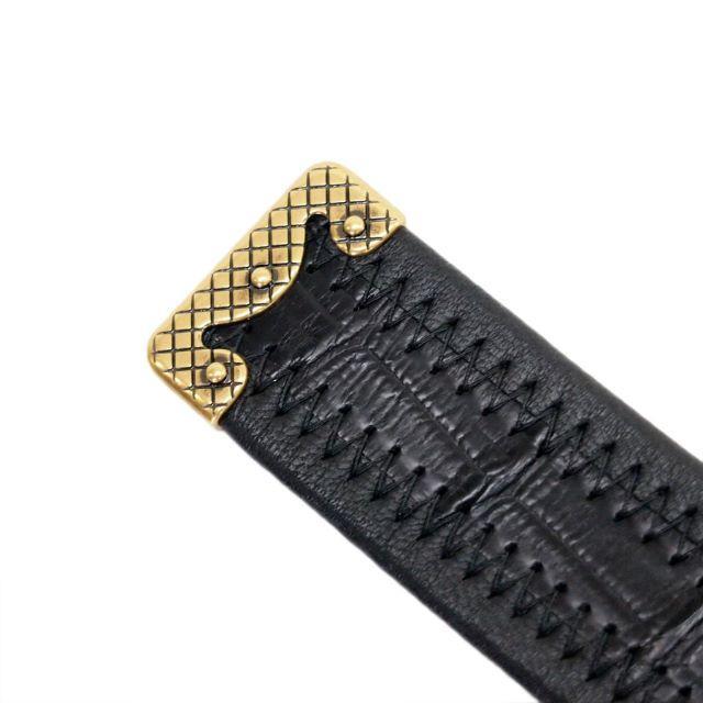 Bottega Veneta(ボッテガヴェネタ)の4 BOTTEGA VENETA リアルクロコ 編み込みブラックベルト90/36 メンズのファッション小物(ベルト)の商品写真