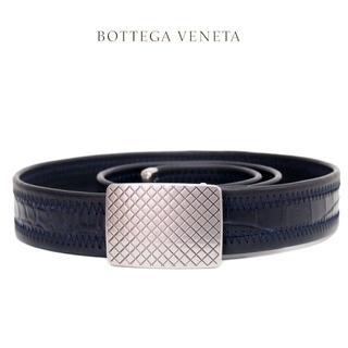 Bottega Veneta - 5 BOTTEGA VENETA リアルクロコ 編み込みネイビーベルト85/34
