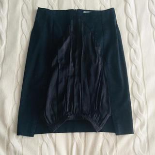 チャラヤン(CHALAYAN)のチャラヤン 3万 異素材 膝丈スカート ネイビー(ひざ丈スカート)