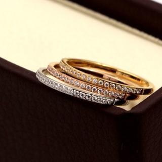 極細 1.5mm CZダイヤモンド ステンレス製 ピンキーリング(リング(指輪))