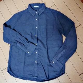 GU - 紺 シャツ 厚手ブラウス GU ジーユー