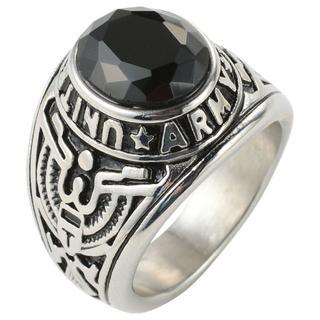 【24号】【ブラック】U.S.ARMYリング 指輪 メンズ カレッジリング(リング(指輪))