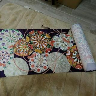 反物(一反)着物 中振袖 シルク絹100% 一本巻き 新品未使用 紫花柄(振袖)