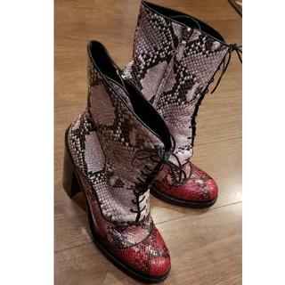 ミュウミュウ(miumiu)のmiu miuミュウミュウ ヘビ革 ショートブーツ26cm(ブーツ)