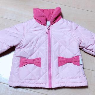 シマムラ(しまむら)の美品 ベビー 女の子 キルティングダウンジャケット ピンク リボンポケット付 (ジャケット/コート)