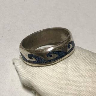 シルバーリング波サーフ柄模様ブルーストーン(リング(指輪))