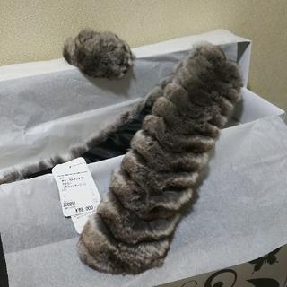 サンキョー(SANKYO)のナチュラルチンチラマフラー フラワーコサージュ付 チンチラ 毛皮 襟巻(マフラー/ショール)