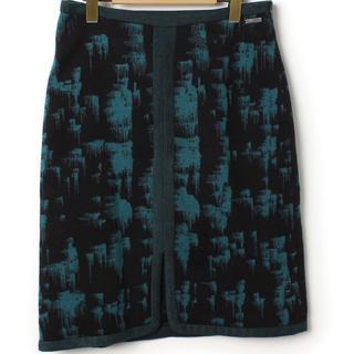 バーニーズニューヨーク(BARNEYS NEW YORK)の銀座アドルフォドミンゲス秋冬アクリルタイトスカートEUR36グリーン緑クリスマス(ひざ丈スカート)