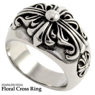 【24号】フローラルクロスリング ステンレス 指輪 メンズ(リング(指輪))