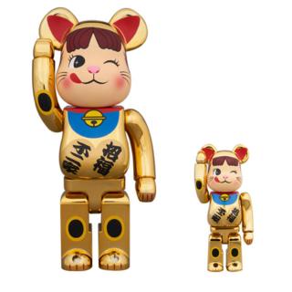 BE@RBRICK  ペコちゃん 招き猫 金メッキ 弐 100%&400%