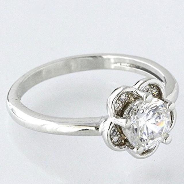 SWAROVSKI(スワロフスキー)のスワロフスキー ジェム 1ct相当 フラワーリング指輪 K18GPレーザー刻印入 レディースのアクセサリー(リング(指輪))の商品写真