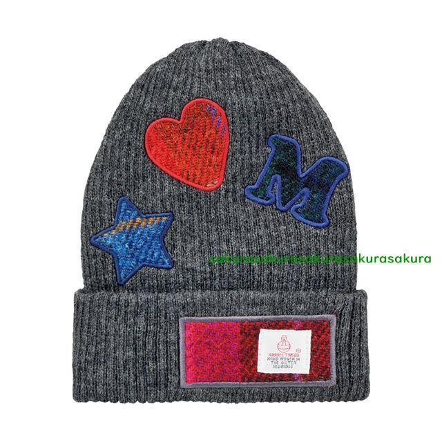 しまむら(シマムラ)の新品タグ付♪ハリスツイード×しまむら ニット帽☆グレー キッズ/ベビー/マタニティのこども用ファッション小物(帽子)の商品写真