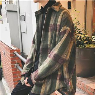 ネオン(Neon)のオーバーシルエット ビッグチェックコートシャツ(シャツ)