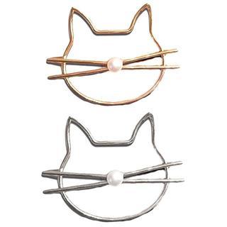 猫ヘアピン ゴールド☆シルバー♪ 2本セット♪ 新品未使用品 送料無料♪(猫)