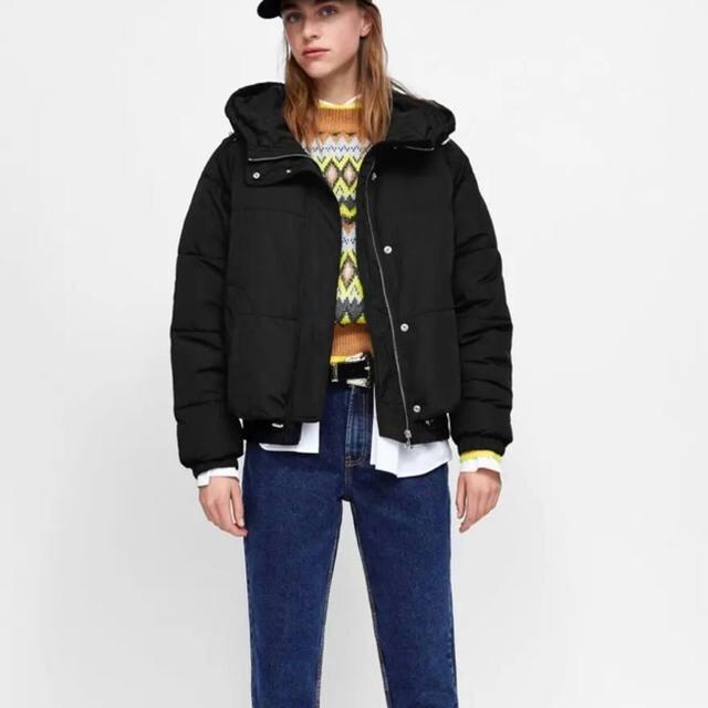 ZARA(ザラ)のZARA フード付きパフダウンジャケット 帽子付きジャケットコート  レディースのジャケット/アウター(ダウンジャケット)の商品写真