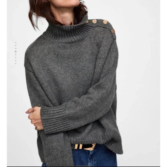ZARA(ザラ)の新品!ZARA ボタン付きセーター グレー 長袖 レディースのトップス(ニット/セーター)の商品写真