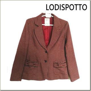 ロディスポット(LODISPOTTO)のロディスポット◆赤ベージュ系チェック調リボンポケット付きジャケット◆M(テーラードジャケット)