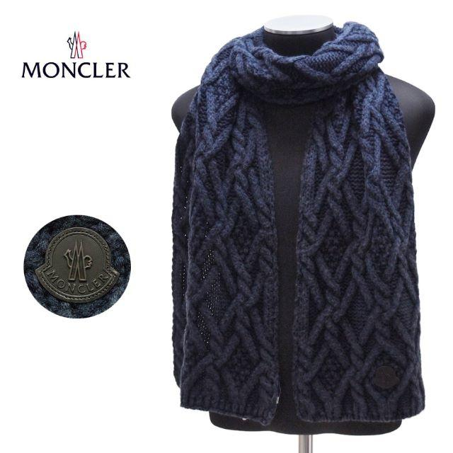MONCLER(モンクレール)の68MONCLERネイビー VIRGIN WOOL 100% マフラー メンズのファッション小物(マフラー)の商品写真