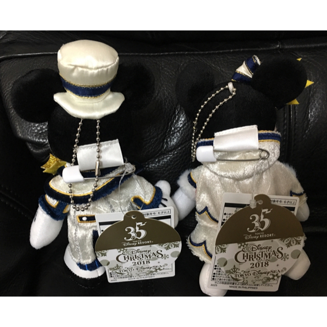 ディズニー イッツクリスマスタイム ぬいぐるみバッチ ミッキー  ミニー セット エンタメ/ホビーのおもちゃ/ぬいぐるみ(キャラクターグッズ)の商品写真