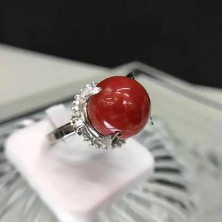 Pt900 大粒赤サンゴ ダイヤ 0.60ct リング 18-3446(リング(指輪))