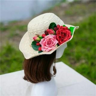 ホワイトレディース大人麦わら花帽子(麦わら帽子/ストローハット)