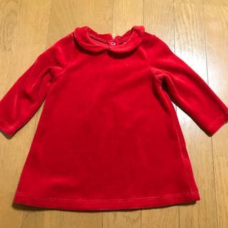 エイチアンドエム(H&M)の試着のみ 真っ赤なワンピース ベロア H&M 6-9m(ワンピース)