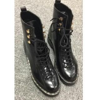 ヴァレンティノ(VALENTINO)のブラック VALENTINO レザーブーツ ヴァレンティノ 黒 26CM(ブーツ)