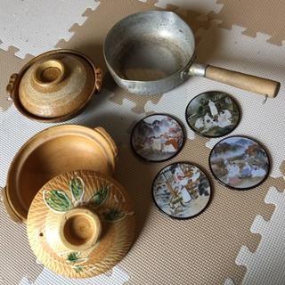 土鍋2個、アルミ製片手鍋、韓国製コースター4個まとめてセットで(鍋/フライパン)