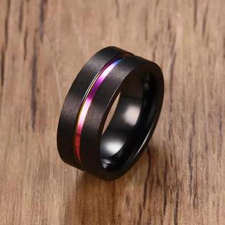 ファッションリング ブラックカラー  米国サイズ12号(リング(指輪))