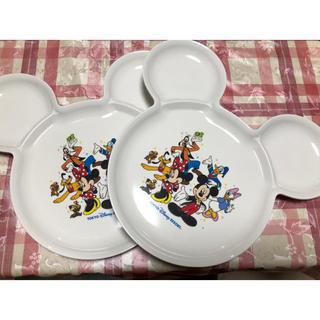 ディズニー(Disney)のディズニーリゾート ミッキーシェイププレート 美品2枚セット(プレート/茶碗)