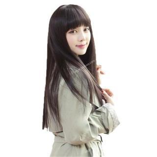 黒髪 ウィッグ ロング ストレート ぱっつん前髪(ロングストレート)