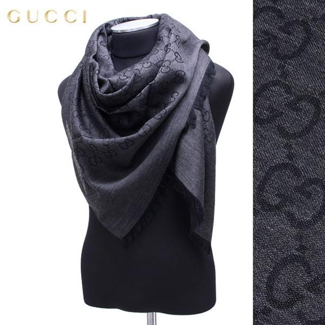 Gucci(グッチ)の22 GUCCI グッチ マフラー/ストール 男女兼 SILK混 大判 ブラック メンズのファッション小物(ストール)の商品写真