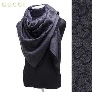 グッチ(Gucci)の22 GUCCI グッチ マフラー/ストール 男女兼 SILK混 大判 ブラック(ストール)