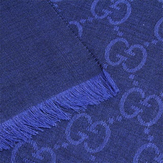 Gucci(グッチ)の23 GUCCI グッチ マフラー/ストール 男女兼 SILK混 大判 ブルー メンズのファッション小物(ストール)の商品写真