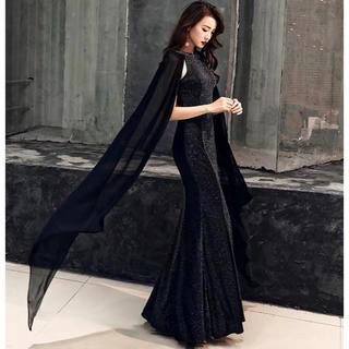 ロング丈 ブラック スパンコール フィッシュテール ノースリーブドレス (その他ドレス)