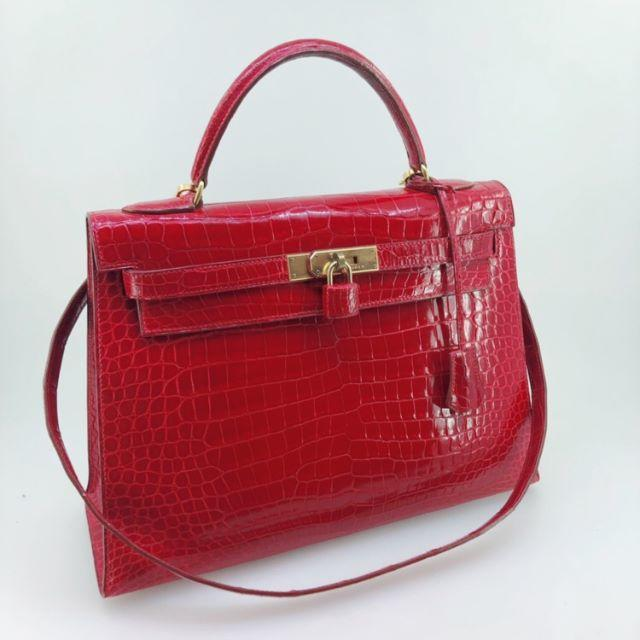 Hermes(エルメス)のエルメス  ケリー32  ポロサスシャイニー  赤  カデナ/クロシェット/スト レディースのバッグ(ハンドバッグ)の商品写真