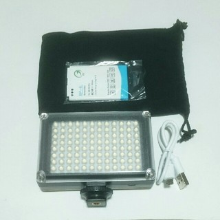 カメラ関連 充電式LEDライト 96灯 乾電池使用可 2電源(ストロボ/照明)