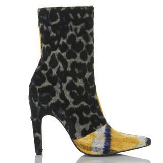 イエローブーツ(Yellow boots)のYELLO 新品箱アリ イエローチェックヒョウ柄ショートブーツ(ブーツ)
