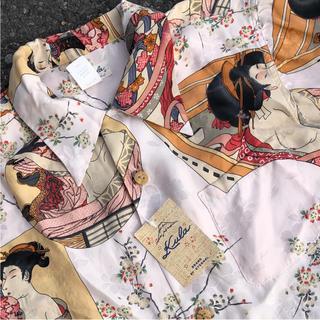 エターナルジーンズ(ETERNAL)のエターナル 和柄 アロハシャツ 浮世絵 美人画 タグ付き 未使用 シルク ピンク(シャツ)