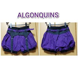 アルゴンキン(ALGONQUINS)のALGONQUINS●紫×黒ストライプかぼちゃパンツ(ショートパンツ)