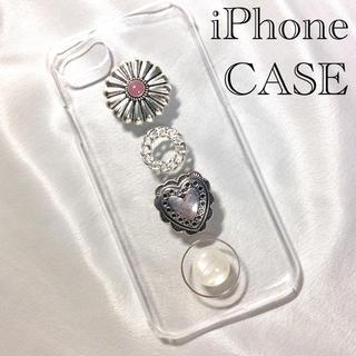 オリジナル iPhoneケース コンチョ ハート シルバー チェーン ピンク(スマホケース)