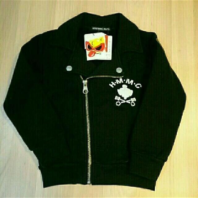 HYSTERIC MINI(ヒステリックミニ)の裏毛ライダース 黒 キッズ/ベビー/マタニティのキッズ服 男の子用(90cm~)(ジャケット/上着)の商品写真
