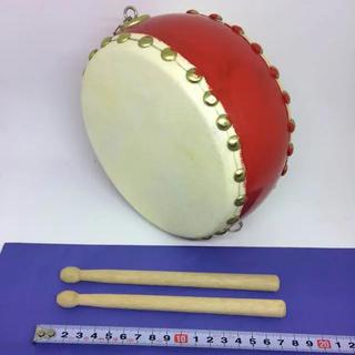 和太鼓 コンパクトサイズ バチ付き 赤塗り(和太鼓)