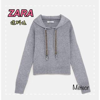 ザラ(ZARA)の【新品未使用】ZARAシャイニースウェットニットパーカー(パーカー)