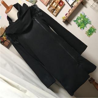 アゴストショップ(AGOSTO SHOP)の美品 BLACK PEARL 毛皮ファー襟 コート(毛皮/ファーコート)